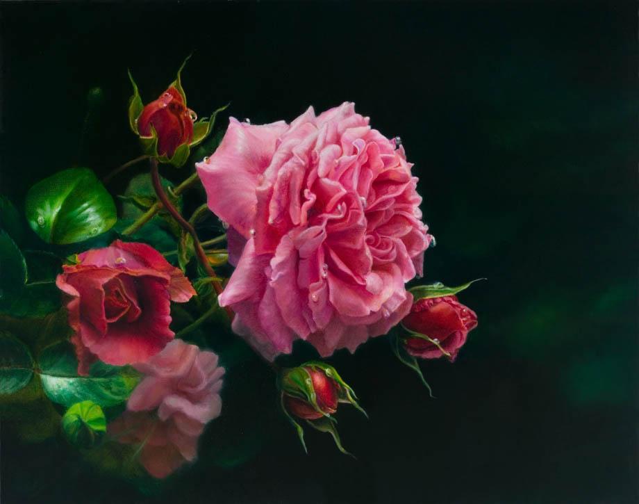 'À côté de la fontaine' - Floral Painting - Oil on Belgian Linen 15 1/4″ x 19 1/4″ 390 mm x 490 mm