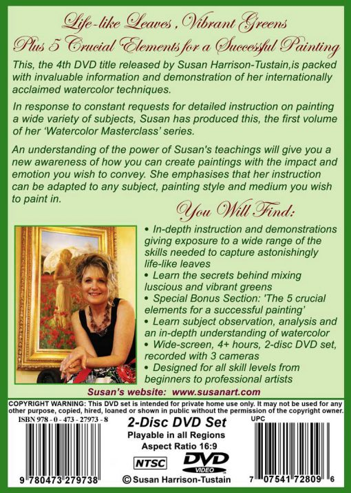 """DVD: Watercolor Masterclass Volume One: """"Painting Life Like Leaves and Vibrant Greens""""   for all skill levels"""