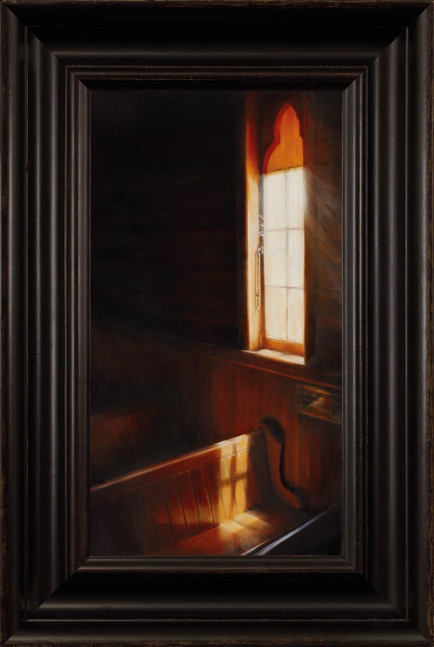 Dedication framed - Oil on Belgian Linen Size: 21 1/2″ x 11 3/4″ 550 mm x 295 mm. A country church, a shaft of light and a special place where a dear lady used to workshop every Sunday. The brass plaque speaks of her dedication. The shadow from the window mullions caught my eye and along with the warm glow from the native timber, were the inspiration for this work. Susan used yellow and orange underwash painting skills which allowed the glow emanate from within the wood.