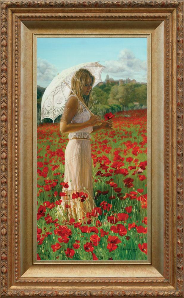 """Enchanté par la Provence framed - Oil on Belgian Linen 47 """" x 23 1/4″ 1190 mm x 590 mm Available as Giclee Print"""