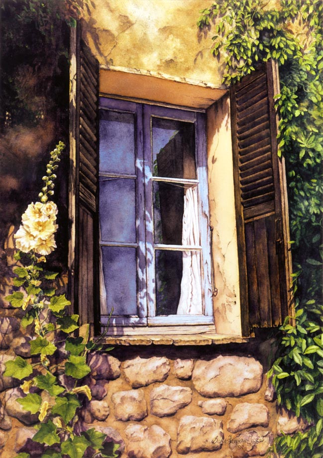 Fenétre de Provence - Watercolor on Arches 300 gsm hot pressed paper 22″ x 15″ 560 mm x 380 mm