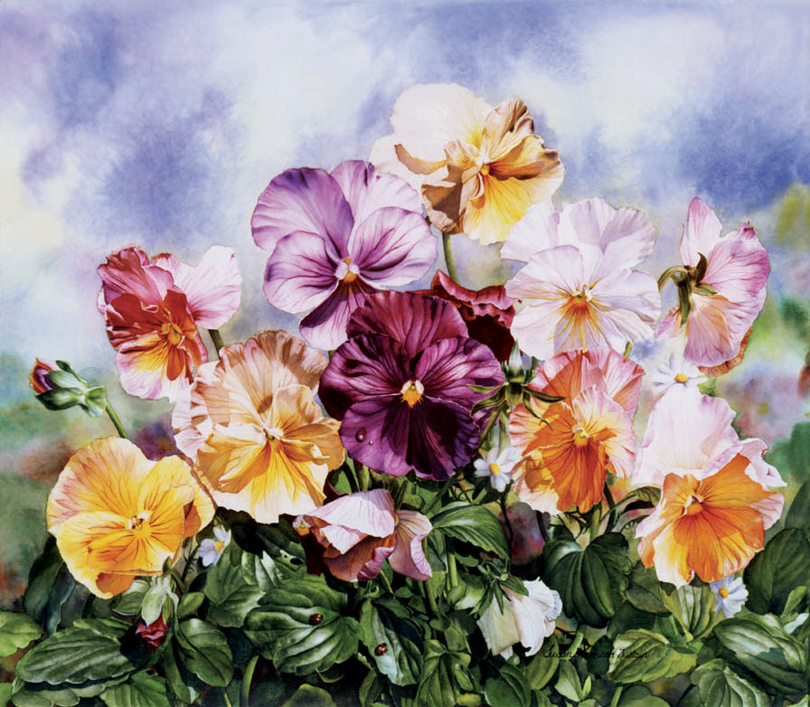 'High Summer' - Floral Painting - Watercolor on Arches 300gsm hot pressed paper 18 3/4″ x 21″ 477 mm x 535 mm