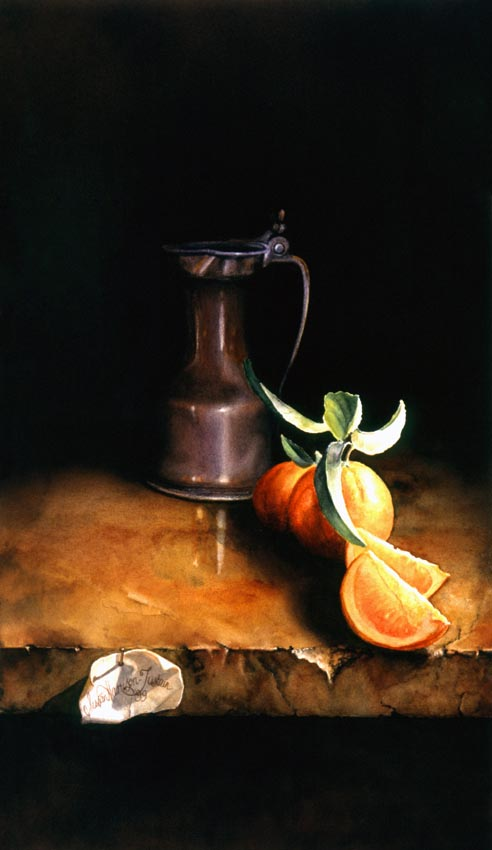 'La Cruche et l'orange' - Still Life Painting - Watercolor on Arches 300gsm hot pressed paper 15″ x 8 1/2″ 382 mm x 218 mm