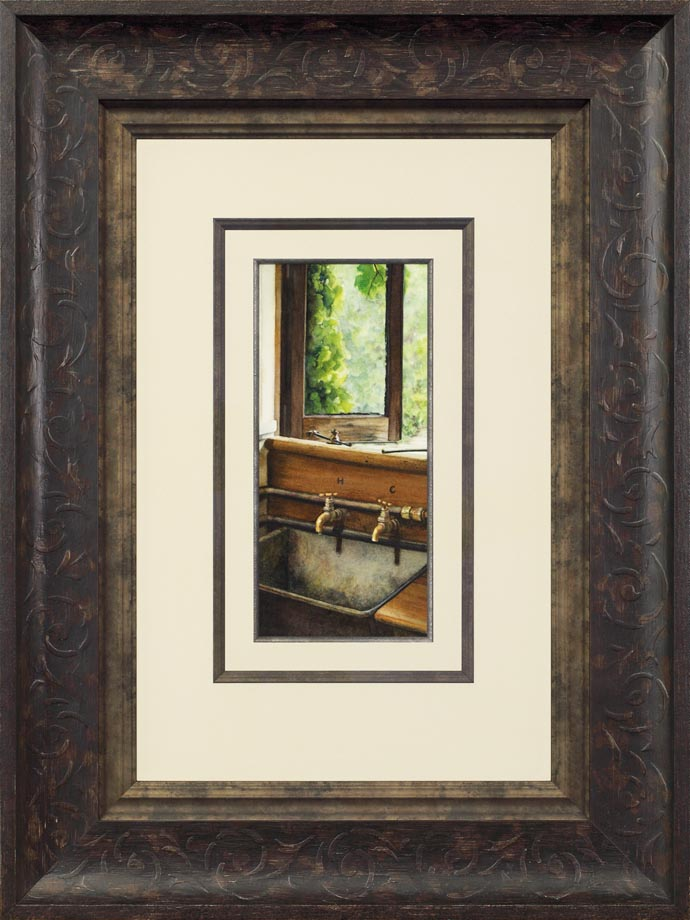 Rush Cottage framed - Watercolor on Arches  300 gsm Hot Pressed paper Size: 13″ x 6″ 330 mm x 150 mm