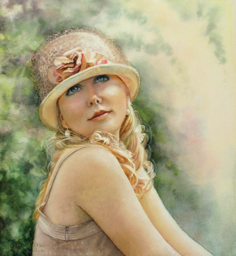 'Seventeenth Summer' - Figurative Painting - Watercolor on Arches 300gsm hot pressed paper 11 3/4″ x 10 1/2″ 300 mm x 270 mm