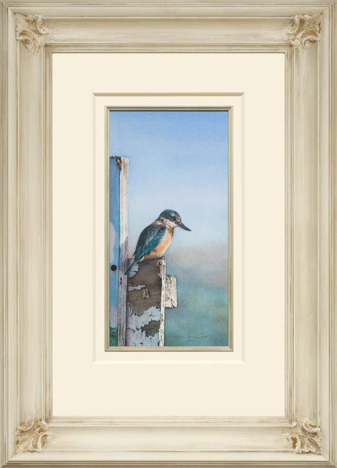 The Sentinel framed - Watercolor on Arches 300gsm hot pressed paper 8 1/4″ x 16 1/2″ 420 mm x 210 mm