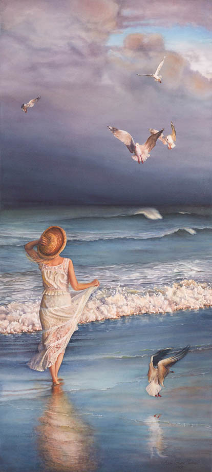 'The Wind's Song' - Figurative Painting - Watercolor on Arches 300gsm hot pressed paper 43″ x 19 1/4″ 1090 mm x 490 mm