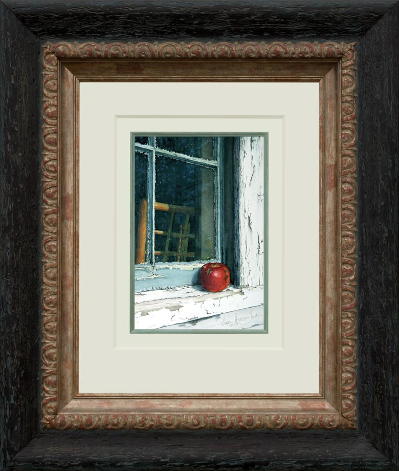 Windfall framed - Watercolor on Arches 300 gsm hot pressed paper 9 1/2″ x 14″ 240 mm x 355 mm