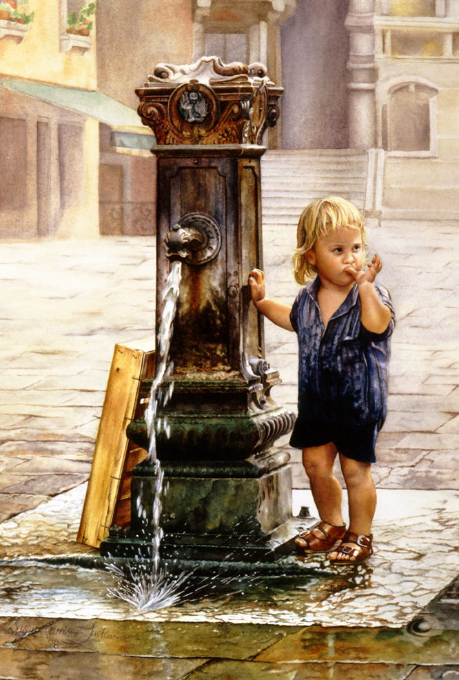 A young lad has washed a piece of fruit he found in the discarded fruit box. A relic of the morning fruit market. He washed it in the fountain - but the water has wet his Sunday best. He develops a perturbed look on his face as he ponders what mama is going to day about his wet clothes. A drinking fountain in a square in Venice, Italy.