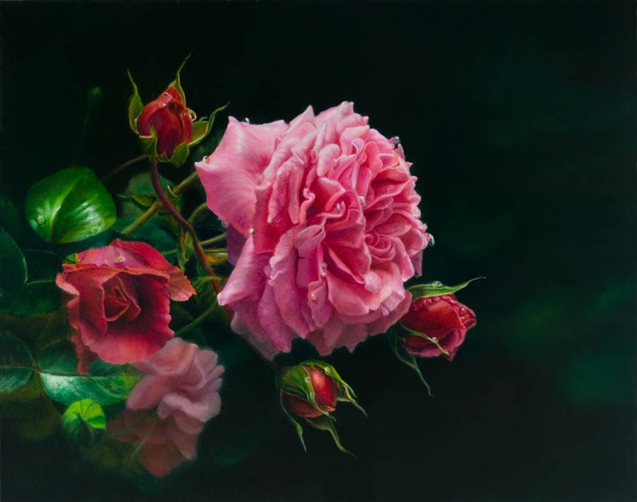 'À côté de la fontaine' - Floral Painting - Oil on Belgian Linen 15 1/4″ x 19 1/4″ 390 mm x 490 mm