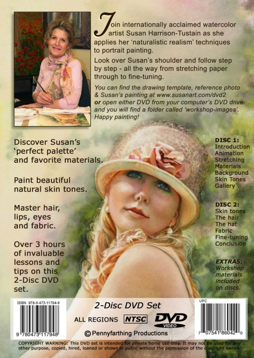 Watercolor painting DVD or video download: 'Watercolor Portrait Workshop' by Susan Harrison-Tustain - for all skill levels