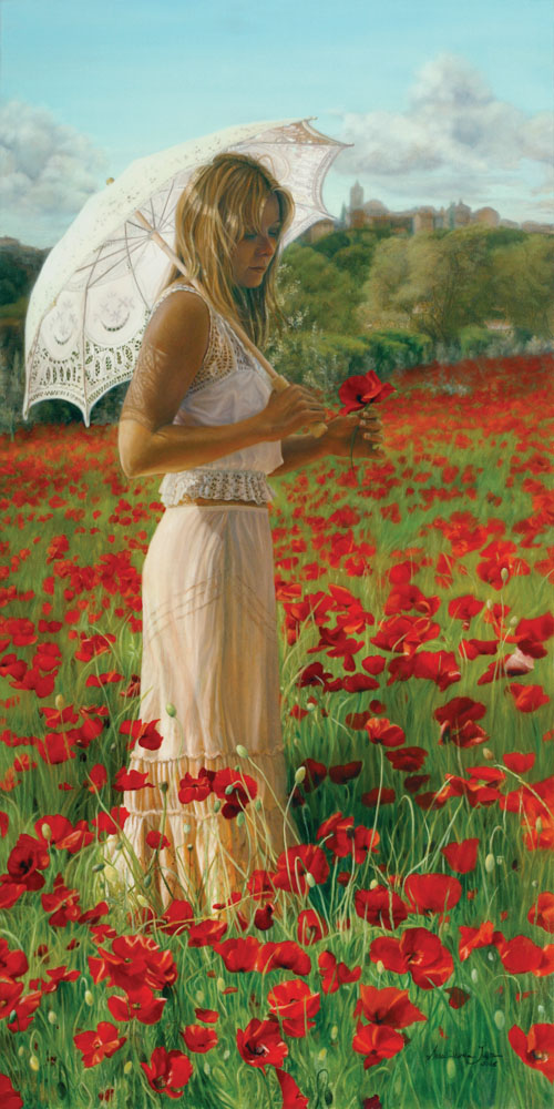 """Enchanté Par La Provence"" - Figurative Painting - Oil on Belgian Linen 47 "" x 23 1/4″ 1190 mm x 590 mm"