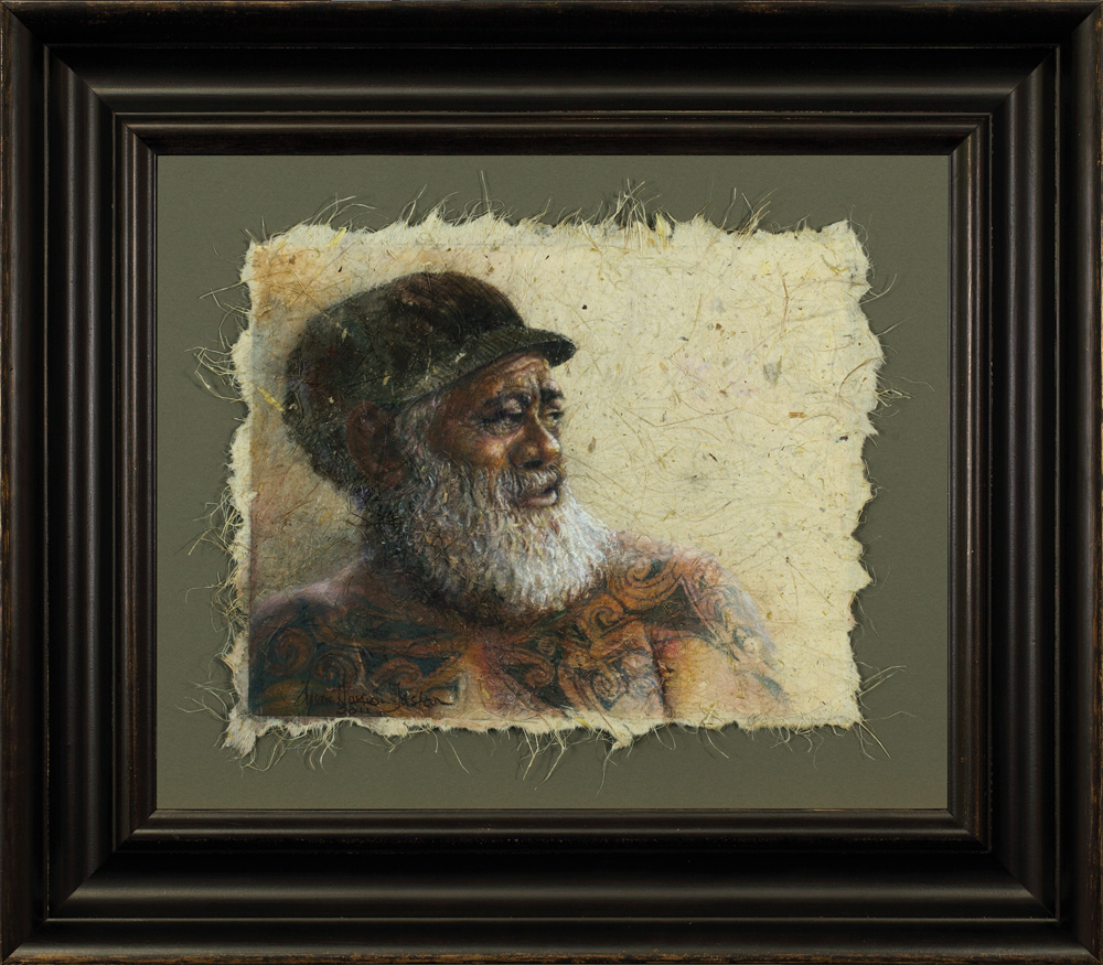 Kaitiaki framed - Mixed Media on Flax Paper 13 1/4 x 17 1/4″ 350 x 440 mm