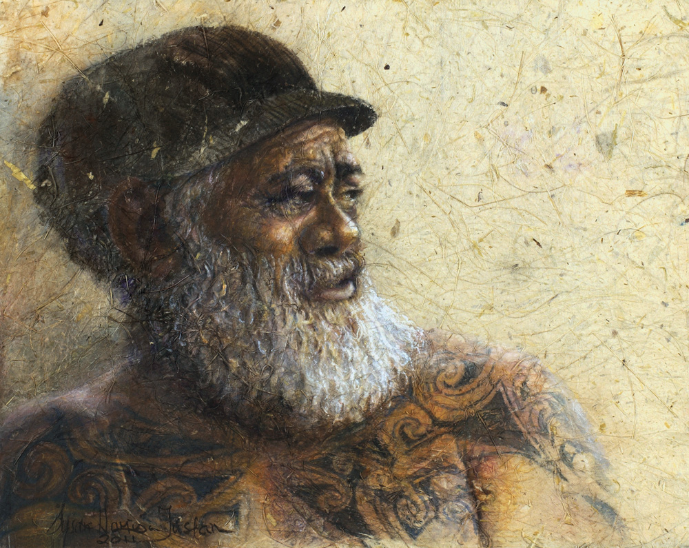 'Kaitiaki' - Figurative Painting - Mixed Media on Flax Paper 13 1/4 x 17 1/4″ 350 x 440 mm
