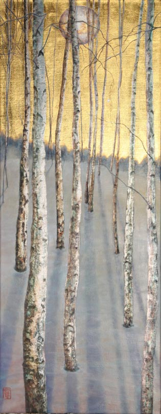 Original oil painting on 24 carat gold leaf and palladium leaf on poplar wood panel. Featuring just one last stoical leaf remains as the winter snows cover the ground. The moonlight casts long shadows on the ground drawing us within. The shared protection of the stand symbolizes strength and unity for all. The painting style is a fusion of realism, surrealism, symbolism and impressionism