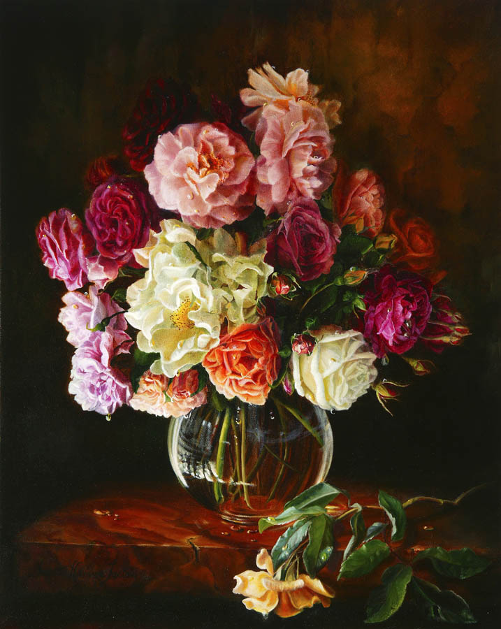 'Last lingering note of summer' - Floral Painting - Oil on Belgian Linen 20″ x 16″ 506 mm x 406 mm