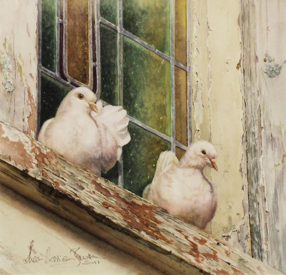 'Lofty Refuge' - Bird Paintings - Watercolor on Arches  300 gsm Hot Pressed paper Size: 12″ x 20″ 320 mm x 510 mm © Susan Harrison-Tustain
