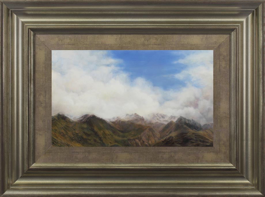Pisa Range framed - Oil on board Size: 19 1/2″ x 11 1/2″ 495 mm x 295 mm