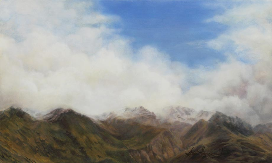 Pisa Range - Oil on board Size: 19 1/2″ x 11 1/2″ 495 mm x 295 mm © Susan Harrison-Tustain