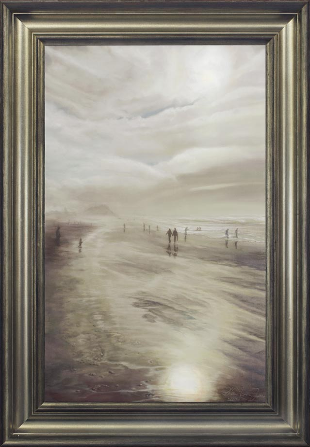"Sunday framed - Oil on Belgian Linen Size: 33 ½"" x 21""  850 mm x 530 mm"