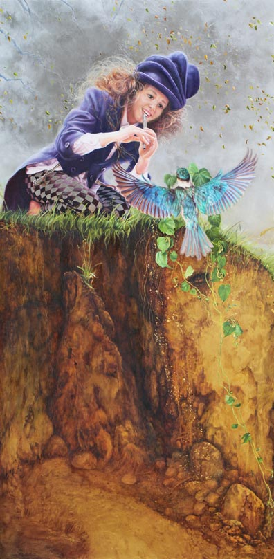 Original oil painting on 24 carat gold leaf and palladium leaf on poplar wood panel. Featuring girl playing her tin whistle - sometimes called a pennywhistle. The tiny roots and filaments carry her music down through the earth to the world below her. The kingfisher carries a gift of ivy vine entwined with golden music and music symbols - a gift to the young woman who plays her music to nature. Secondary focus is brought to the kingfisher's golden eggs by the flow of the ivy vine. The golden eggs lay nestled in the clay earth bank. The painting style is a fusion of realism, surrealism, symbolism and impressionism.