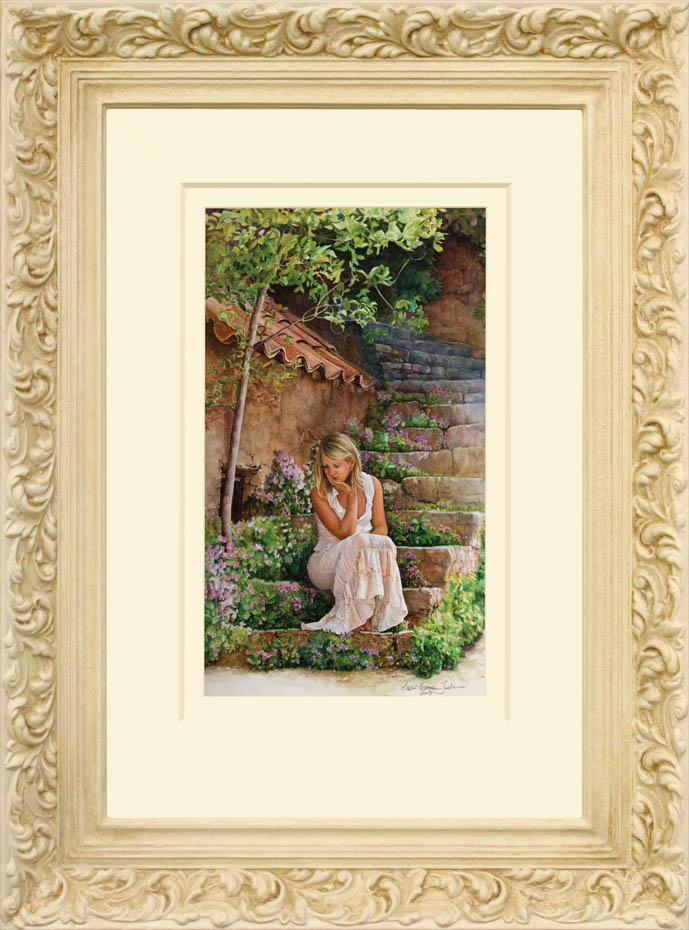 Time for reflection framed - Watercolor on Arches 300gsm hot pressed paper 24 3/4″ x 14 1/4″ 628 mm x 364 mm
