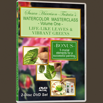 Watercolor painting DVD or video download: 'Watercolor Masterclass Volume One: Painting Life-Like Leaves and Vibrant Greens' by Susan Harrison-Tustain - for all skill levels