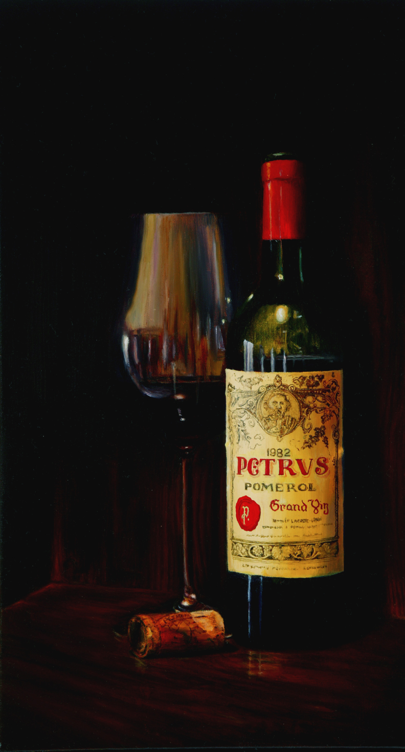 An oil painting on Belgian Linen by Susan Harrison-Tustain. This Chateau Petrus and Bordeaux wine glass emerge from the shadows into the subdued light. The cork bears the toasted insignia. Can you smell the aroma of the aged red - did you hear the pop as the cork was pulled? I want to capture these moments and conjure them in your senses too - the moment of being there. I have highlighted this painting as it demonstrates a fee painting lesson on how to paint glass and how to paint reflections on glass.