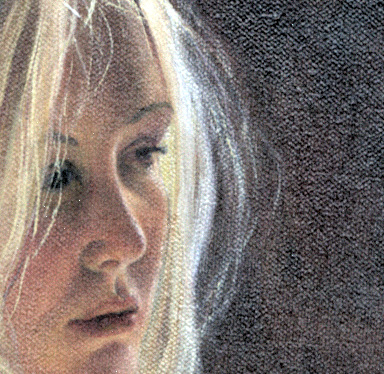 The sunlight catches and highlights her blonde hair as her thoughts are far away - lost in the moment. This is an oil painting by Susan Harrison-Tustain who specializes in capturing emotion within her brush strokes. Luminous shadows, against gentle light on her hair - Susan has caught a moment in time where the young girl is lost in thought.