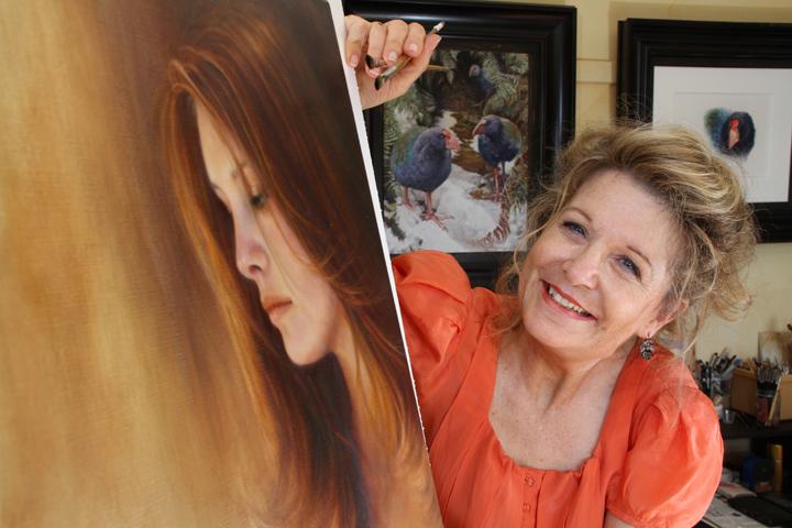 Oil painting portrait of brunette girl. by Susan Harrison-Tustain