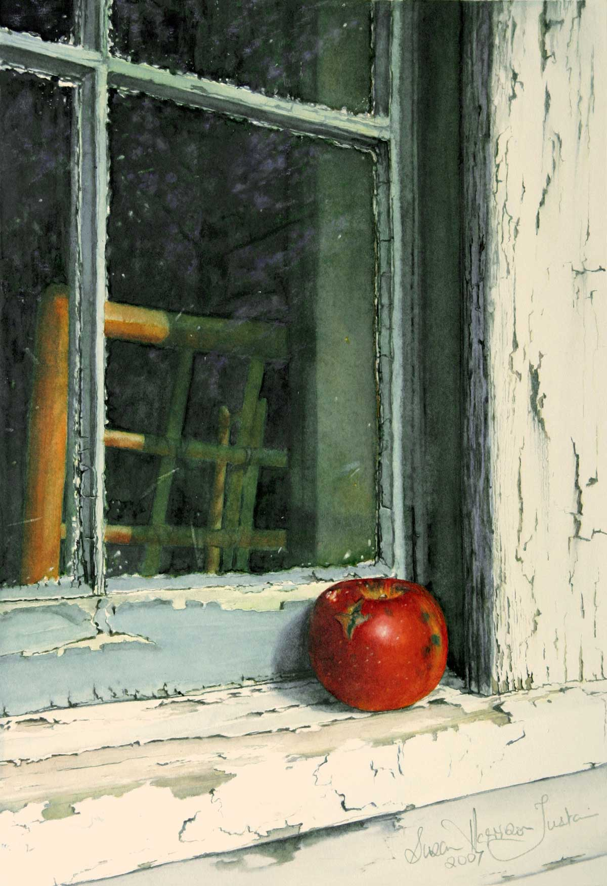 Watercolor painting of Red apple on window sill of peeling paint
