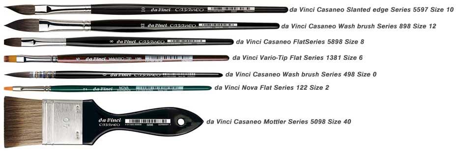 da Vinci brushes Susan Harrison-Tustain brushes set 2